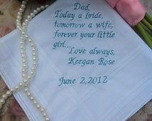 Father of the bride Handkercheif,Cute note from bride to her father on her wedding day
