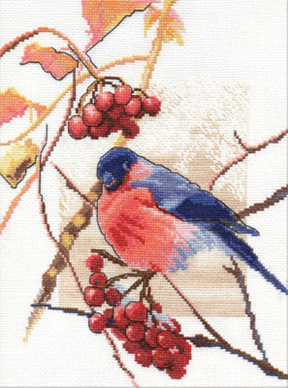 Bullfinch, cross-stitch kit