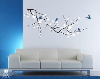 Cherry Blossom Branch Wall Decal with Birds  - Vinyl Wall Art