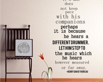 Wall Decal Quote Different Drummer  Henry David Thoreau - Vinyl Lettering Text Wall Words Stickers Art