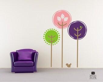 Wall Decals Tree Tops - Vinyl Nursery Wall Stickers Art Graphics