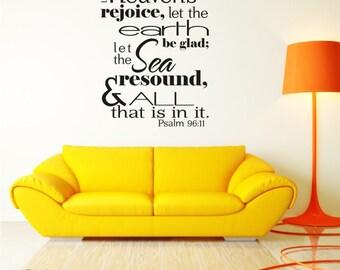 Bible Verse Wall Decals Psalm 96:11 - Vinyl Wall Stickers Art Scripture Bible