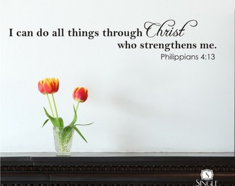 Wall Decal Quote I Can Do All Things - Vinyl Wall Stickers Art Scripture Bible Verse