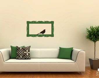 Wall Decals Frame Baroque with Bird - Vinyl Wall Stickers Art Graphics