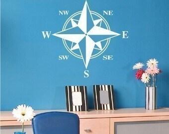 Compass Wall Decal - Vinyl Sticker Wall Art