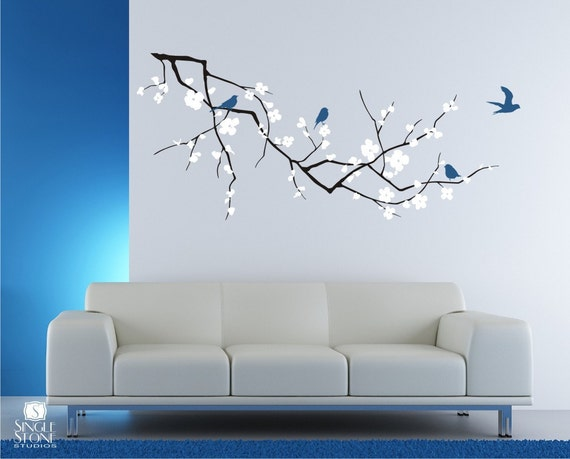 Wall Decals Cherry Blossom with Birds - 3 Colors - Vinyl Wall Art