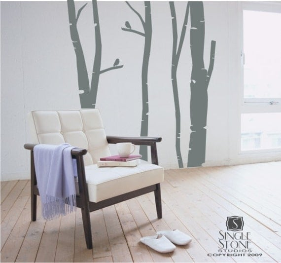 Birch Trees Wall Decal Set of 4