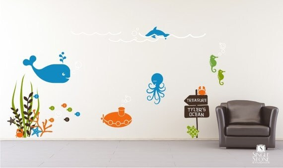 Underwater Ocean Scene Wall Decals Mural Nursery Kids Wall