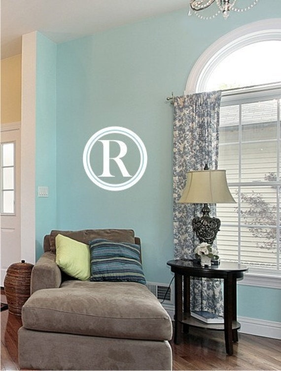 monogram wall decal simple circle vinyl text wall stickers