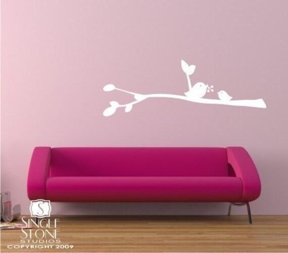 Birdies with Berries Wall Decal - Vinyl Wall Stickers Art