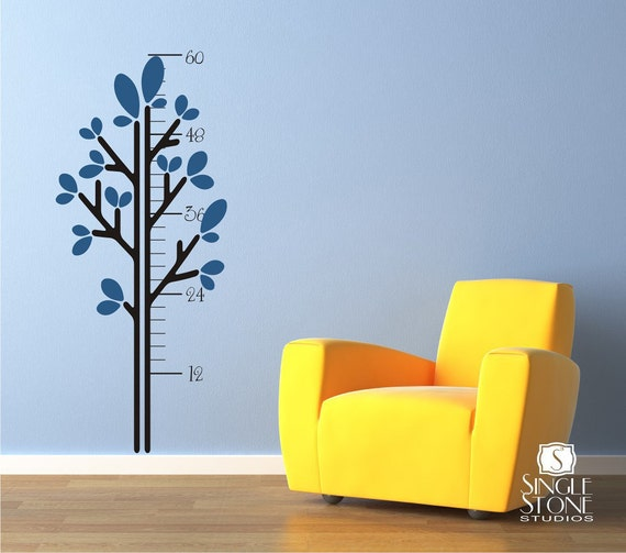 Growth Chart Wall Decals Leafy Tree - Vinyl Stickers Art Wall Decal