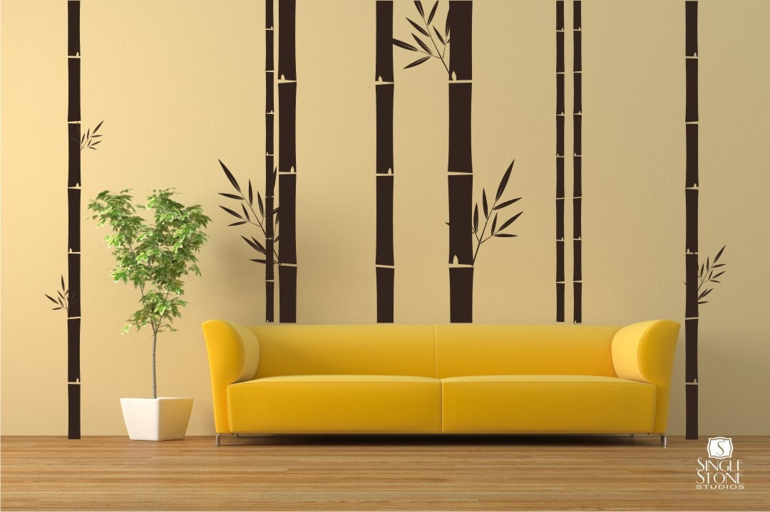 bamboo wall decals mural wall stickers custom home decor. Black Bedroom Furniture Sets. Home Design Ideas