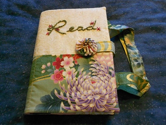 Cool green Asian themed flowery 4 pocket book cover with silk ribbon embroidery and matching handles.