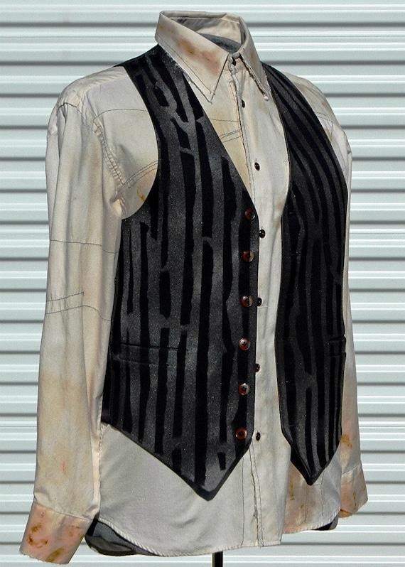 Steampunk Reversible  Mens Vest Medium Upcycled