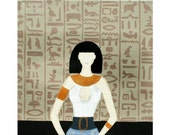 Mysterious Me (Cairo) - 8x8 limited edition signed print - Egyptian art fashion illustration - ancient Egypt painting