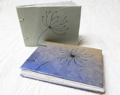 Upcycled Notebook Set Blue and Gray Green Hand Drawn Flower Coptic Bound Recycled Paper