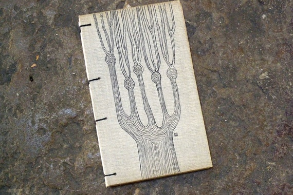 AVAILABLE NOW Rustic Journal or Guestbook Upcycled Vintage French with Original Drawing