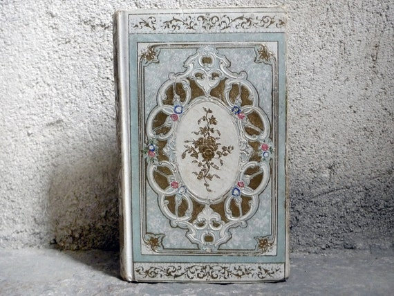 RESERVED Antique French Guestbook or Journal Handmade Personalized OOAK