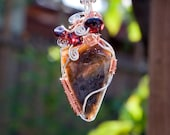Washington State Agate and Garnet Bead Wire Wrap Pendant Silver Filled and Copper Wire