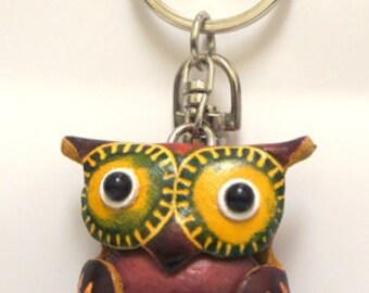 Handmade Genuine Leather Red Owl eychain