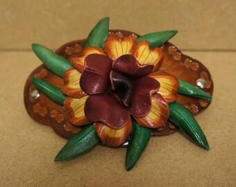 Leather Hawaiian Flower Hair Clip Barrette - ALOHA :)