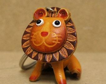Leather Lion Leo Keychain Purse Charm - RAWR :)