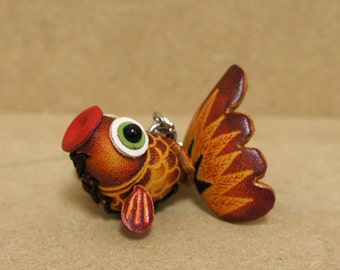 Leather Goldfish Koi Pisces Keychain Purse Charm - :)
