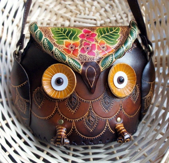 Brown Leather Owl Floral Handbag Shoulder Purse, medium size - HOOT :)