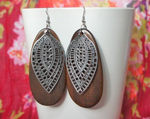 Large Brown Wood Sterling Silver Filigree Earrings