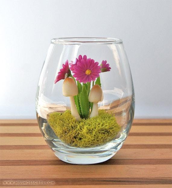 SALE - Tiny Purple Daisy Woodland Terrarium in Repurposed Vase