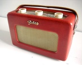 1960's Collectible Roberts R200 Transistor Radio in red. Leather-covered teak case. English early 60's vintage. Fully working