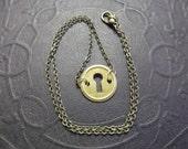 Antique Brass Keyhole Necklace