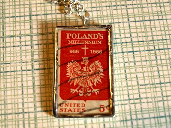 Vintage Poland and United States millennium Postage Stamp and atlas map
