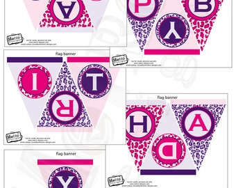 Pink & Purple Leopard Banner - Digital File