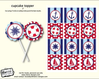 Sailor Cupcake Toppers and Favor Tags