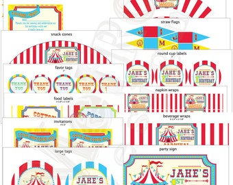 Circus or Carnival Birthday Kit, Carnival Birthday,Circus Birthday, Circus Invitations, Carnival Invitations, Carnival Banner, Circus Banner