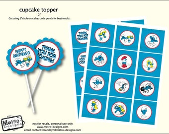 Smurfs , Cupcake toppers or Favor Tags - Digital File