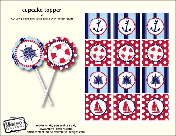 Sailor Cupcake Toppers/Tags - Digital file