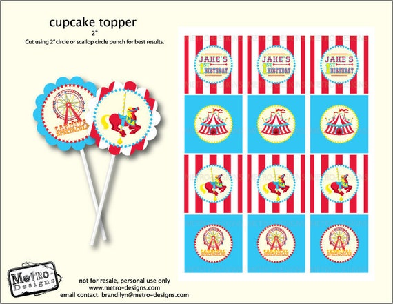 Carnival Theme Tags/Cupcake Toppers - Digital File