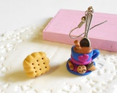 Hot chocolate and cookies earrings - christmas holiday winter collection - handmade miniature polymer clay food jewelry