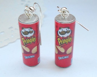 Pringles inspired original flavor earrings - mini food jewelry handmade miniature polymer jewellery fun funny food earrings idea gift her