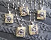 Sunflower scrabble tile necklace