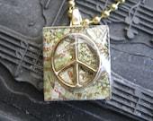 Gold Peace sign scrabble tile necklace