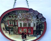 French Town Themed Magnet Board with Handmade Bottle Cap Magnets - Free Shipping