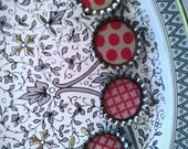 Silver and White Floral Metal Tray Magnet Board with Handmade Bottle Cap Magnets - FREE SHIPPING