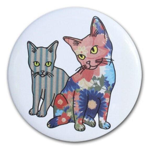Contempo Kitty Pocket Mirror featuring Kittens Design - Modern Cat Art