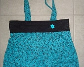 Purse-Tote Beautiful Blue and Black very Feminine--Free Shipping in US