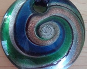 3 Circular Blown Glass Pendants-Each with a Multi-Color Circular Swirl--Sold Separately--Free Shipping US