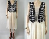 SALE 80s black & silver scalloped sequin silk vest / os