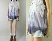 vintage purple ombre dip dyed denim blouse / s-m
